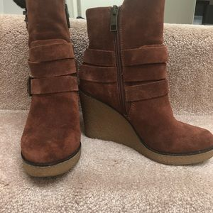 BCBGirls suede brown booties